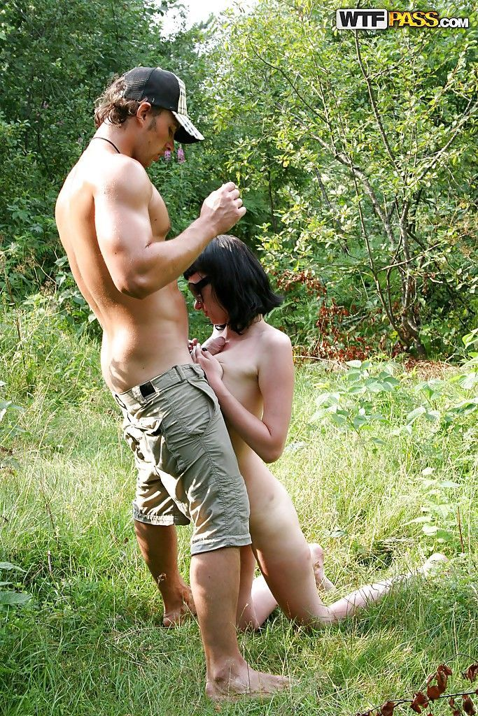 Saucy teenage cum-gazzlers have some hardcore fun with naughty guys outdoor