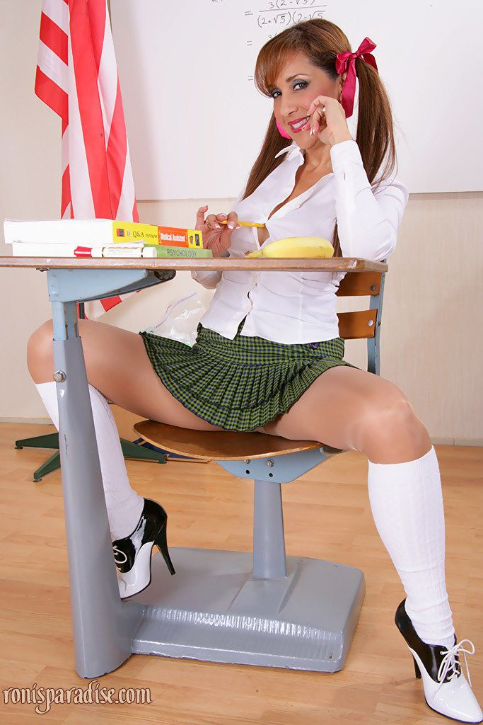 Hot babe with pigtails Roni flashing ass and tits in school uniform