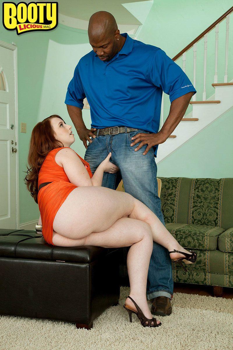 Redhead BBW Felicia Clover has her first interracial sex experience