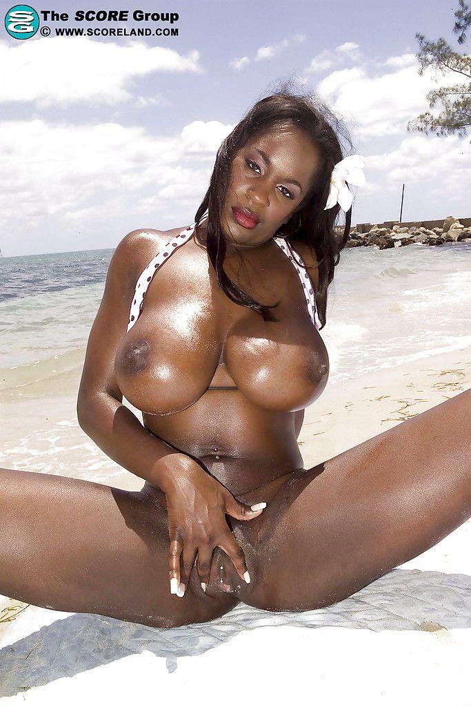Black tits bikini slut Nikki Jaye does some outdoor teasing and masturbation.