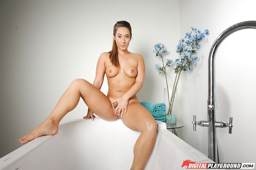 Solo girl Eva Lovia slips thong underwear over nice ass for bush spreading