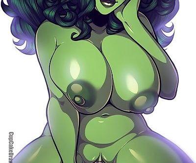 Cute plump She-Hulk riding a futa..