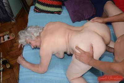Hairy pussy of sweet granny Norma gets nailed hardcore with a young cock - part 2