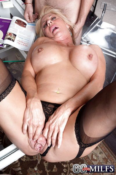 Busty granny Phoenix Skye giving BJ before taking anal in MMF threesome - part 2