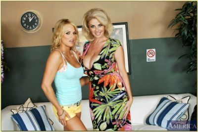 Hot lesbian mom Brooke Belle and Penny Porsche showing huge juggs - part 2