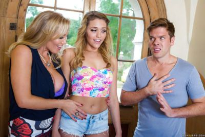 Milf mom Rebecca Moore and teen Mia Malkova have threesome