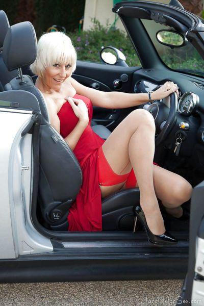 Hot Euro lady Jan Burton flashing stocking tops and garters outdoors