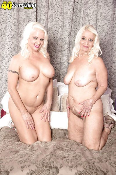 Older lesbians Veronica Vaughn and Vikki Vaughn shedding sexy lingerie - part 2