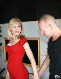 Mature blonde Nina Hartley got her pantyhose torn for hot banging