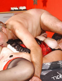 Obese mature Euro pornstar in lingerie licking ball sac in 69 sex position