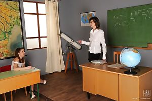 Hot schoolgirl Nicole Sweet gets seduced by her lesbian mature teacher