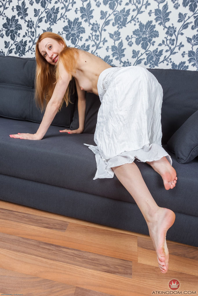 Skinny mature woman Kler plays an erotic solo in clothes and shows hairy pussy