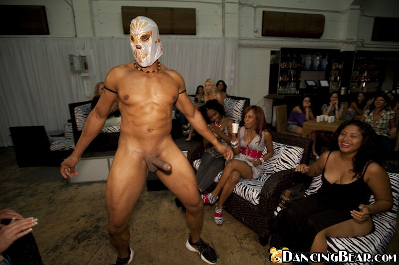 Young and mature babes are into CFNM party with male stripper