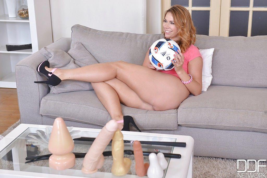Sexy Euro soccer mommy Ani Blackfox masturbating with aid of sex toys