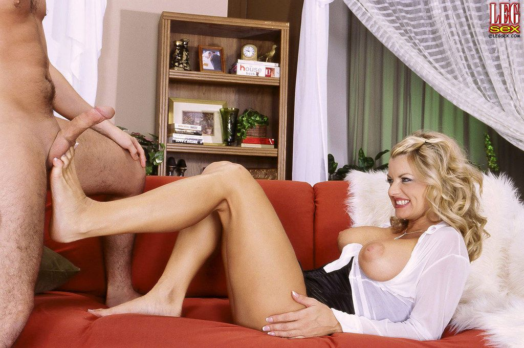 European mature cutie Vicky Vette shows her legs in white pantyhose