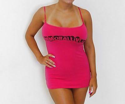 Blonde model in pink dress- cute..