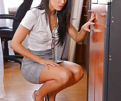 Hot brunette secretary Alexa..