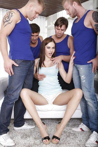 Euro slut Tina Kay taking facial cumshots after anal sex in gangbang action