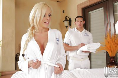 European pornstar Nina Elle has her milf big tits massaged
