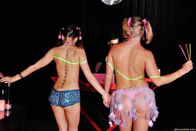 Lecherous party hotties have a fervent threesome with a well-hung dj