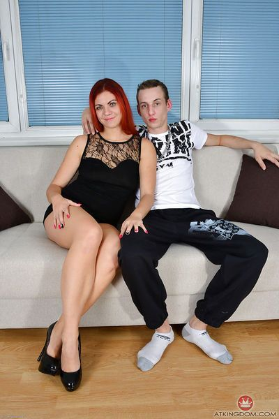 Redheaded cougar Corazon Del Angel and big cock engage in hardcore sex