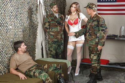 Lecherous busty nurse in stockings gets anally crashed by a hung soldier