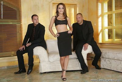 Elegant pornstar Dominica Phoenix has a rough threesome with two studs