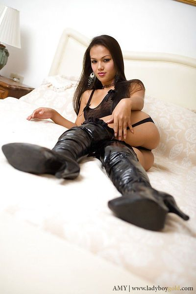 Horny Asian ladyboy Amy posing in her high heels and lingerie