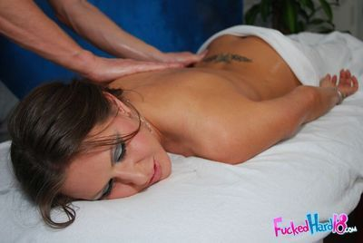 Raunchy MILF with nice boobs gets fucked hardcore after a massage