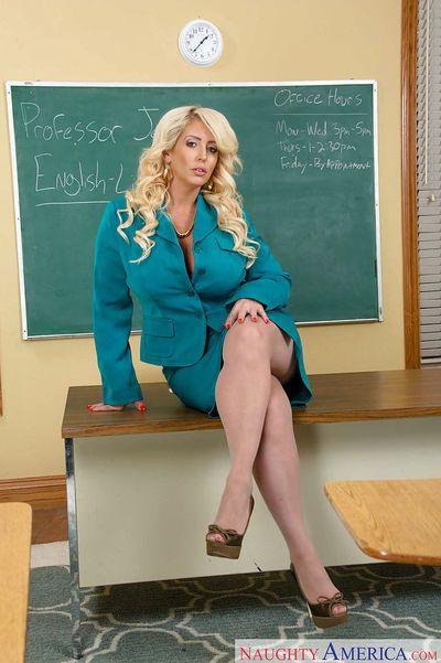 Chubby blonde Milf teacher Alura Jenson peeling off her tight skirt