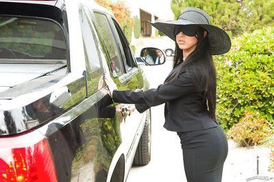 Blindfolded Latina Lily Lane sucking off 2 large cocks before anal fucking