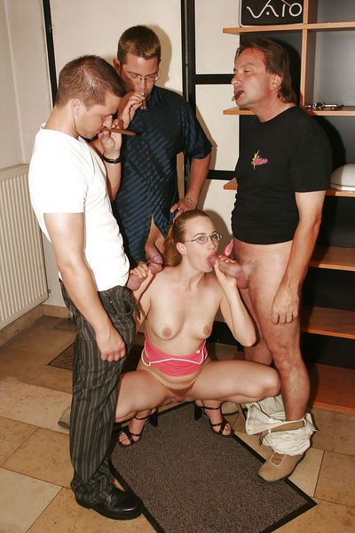 Glasses adorned Euro slut with small tits and hairy cunts receives blowbang