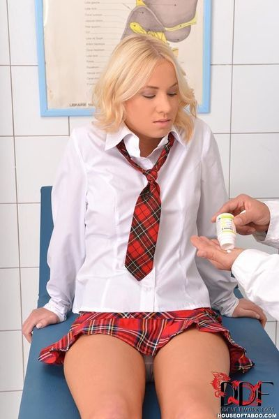 Clothed blonde schoolgirl is drugged and forced into hardcore BDSM sex
