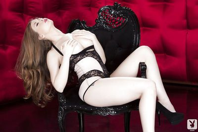 Voluptuous long-haired vixen Jessi June getting rid of her lacy lingerie