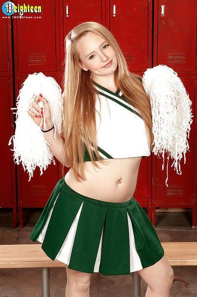 Teen strip cheerleader Nina Nelson gets naked in locker room