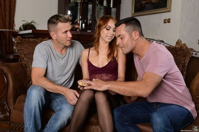 European redhead Kira Thorn does a DP wearing stockings and high heeled shoes