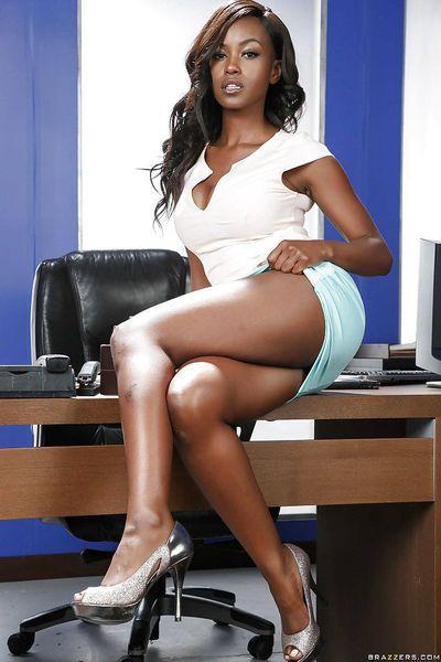 Black office worker Jezabel Vessir reveals big boobs and ass under lingerie
