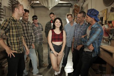 Tiny titted girl gets load of cum on face & mouthful in hot garage gangbang