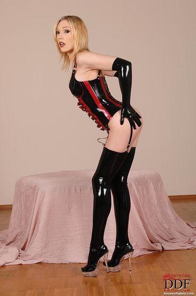 Latex stocking and long glove attired fetish babe Lily LaBeau masturbating