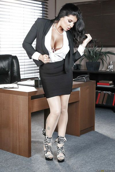 Office worker Romi Rain showing off hooters after undressing at work