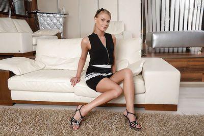 Blonde Euro babe Kattie Gross unzips from her maid\\\