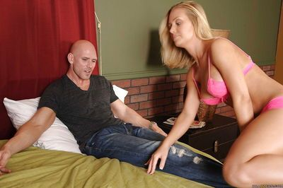 Teen babe in hot underwear Nicole Aniston sucking a cock blindfold