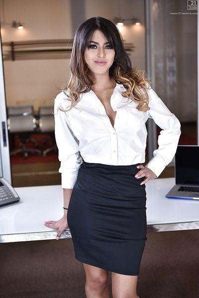 Latina babe Sophia Leone flashing upskirt teen pornstar ass in office