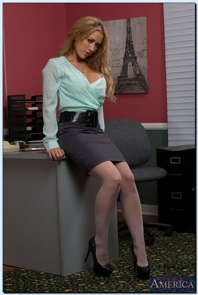 Hot office lady Capri Cavanni stripping and spreading her lower lips