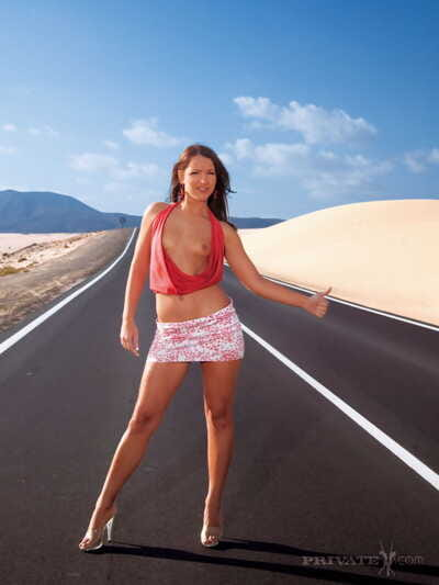 Hot brunette Sabrina Sweet hitchhikes before ATM action on a sandy beach