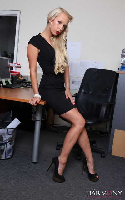 Blonde secretary Carla Cox gets gangbanged on top of her office desk