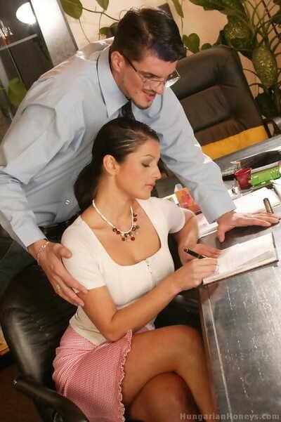 Hungarian secretary Simone Landori has sex with her boss on her desk