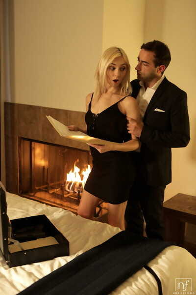 Thin blonde Chloe Temple goes pussy to mouth in front of a fireplace