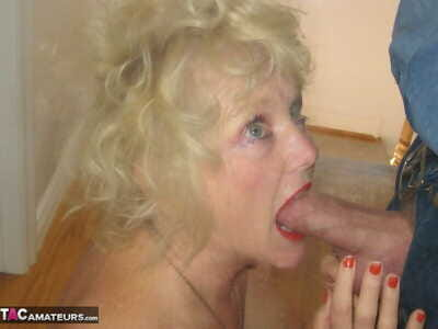 Blonde granny Ruth gives an excellent blowjob and fucks in POV