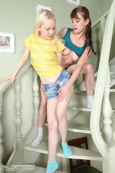 Young lesbians Marry & Veronika toy horny pussies in socks